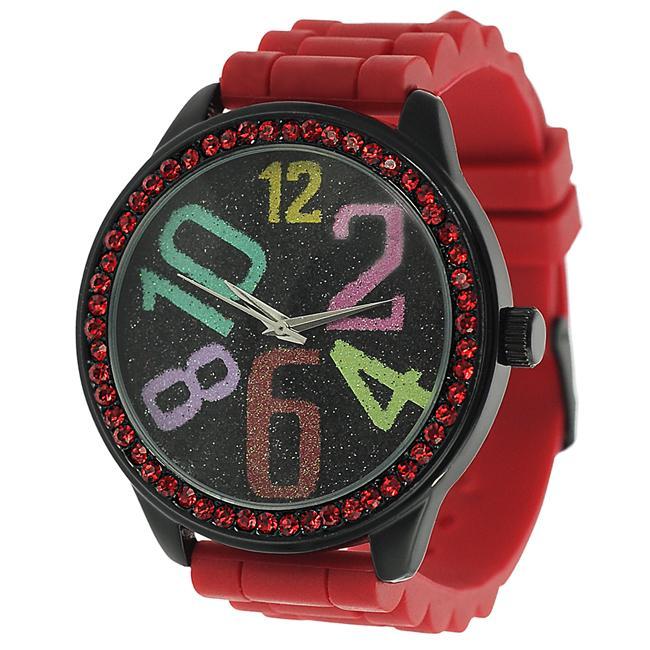 Geneva Platinum Women's Rhinestone-accented Silicone Strap Watch