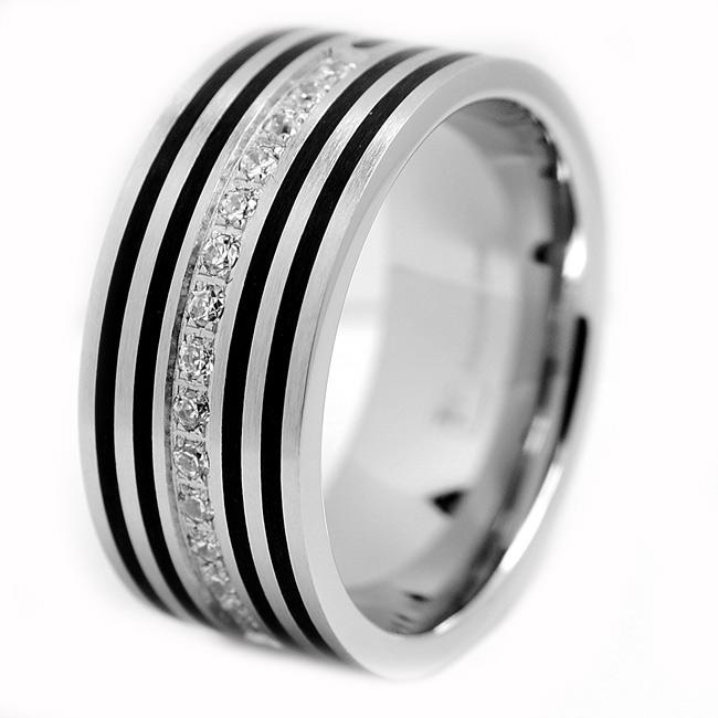 Oliveti Stainless Steel Men's Resin and Cubic Zirconia Ring