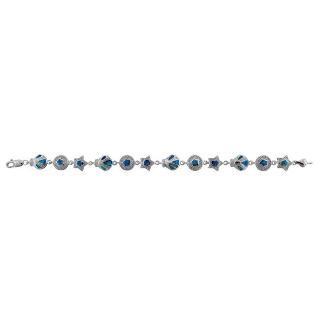 Sterling Silver Created Opal Inlay Bracelet