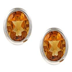 Kabella Sterling Silver Oval-cut Citrine Earrings
