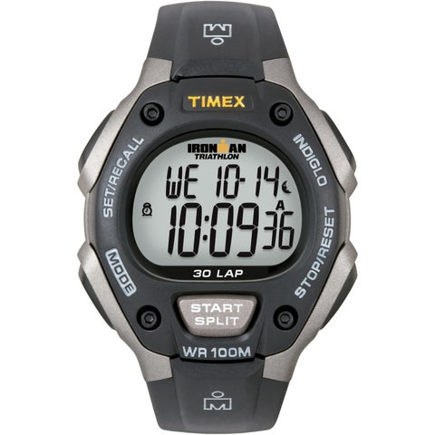 Timex Men's Ironman Classic 30 Grey/ Black Resin Strap Watch - Grey/Black
