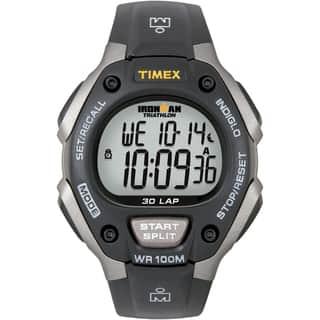 Timex Men's T5E901 Ironman Classic 30 Grey/ Black Resin Strap Watch https://ak1.ostkcdn.com/images/products/5883787/5883787/Timex-Ironman-Triathlon-50-Lap-Gray-and-Black-Athletic-Watch-P13591814.jpg?impolicy=medium