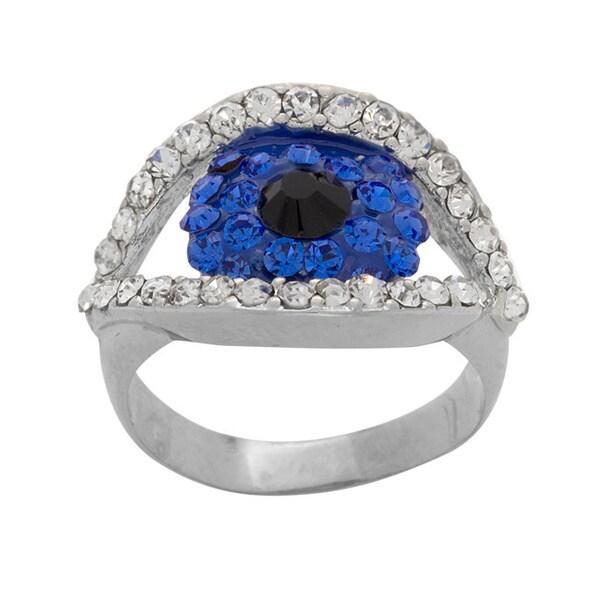 NEXTE Jewelry Blue/White/Black Rhinestone and Rhodium-plated Brass Guardian Ring