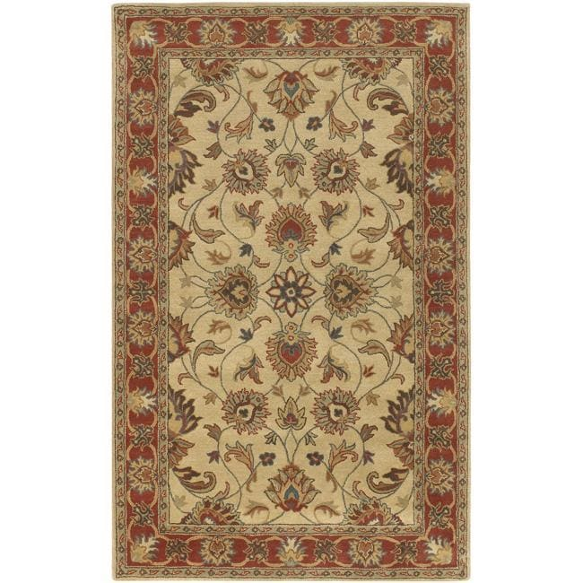 Hand-tufted Vault Beige/Red Traditional Border Wool Rug (4' x 6')