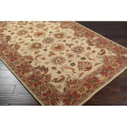 Hand-tufted Vault Beige/Red Traditional Border Wool Rug (4' x 6') - Thumbnail 1