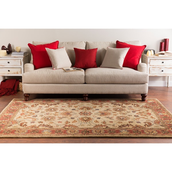 Hand-tufted Vault Beige Beige/Red Traditional Border Wool Rug (7'6 x 9'6)