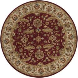 Hand-tufted Kaiser Red Wool Rug (4' Round)