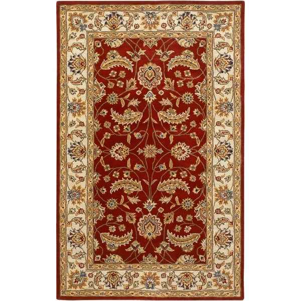 Hand-tufted Kaiser Red Wool Area Rug - 6' x 9'