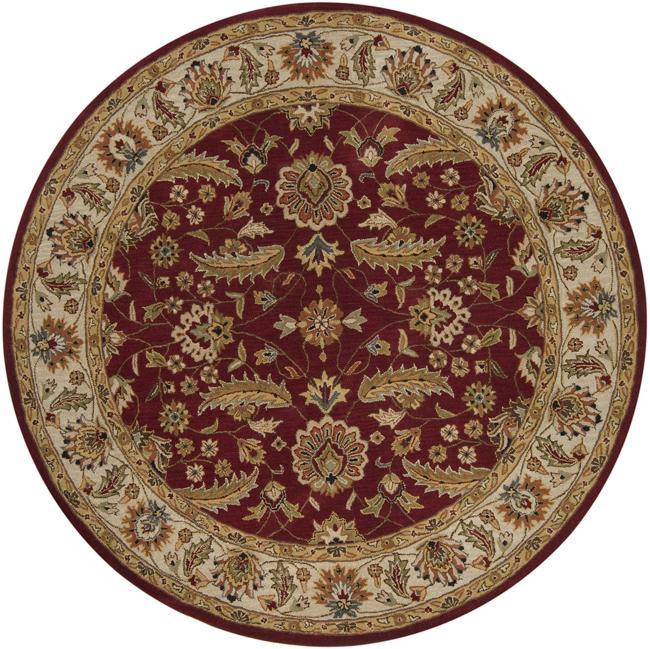 Hand-tufted Kaiser Red Wool Rug (6' Round)
