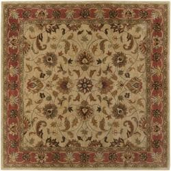 Hand-tufted Vault BeigeBeige/Red Traditional Border Wool Rug (8' x 8')