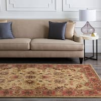 Hand-tufted Vault BeigeBeige/Red Traditional Border Wool Area Rug - 8' x 8'