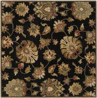 Hand-tufted Caper Black Wool Area Rug (6' Square)