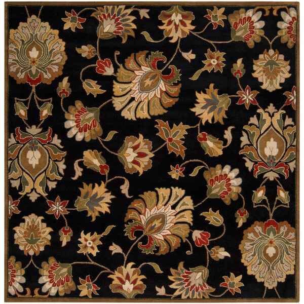 Hand-tufted Caper Black Wool Rug (8' Square)