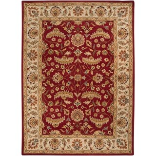 Hand-tufted Kaiser Burgundy Wool Area Rug - 8 x 11 (8 x 11 - Red/Ivory)