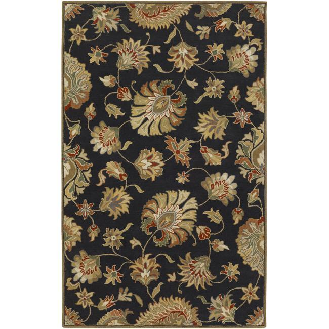 Hand-tufted Caper Black Wool Rug (5' x 8')