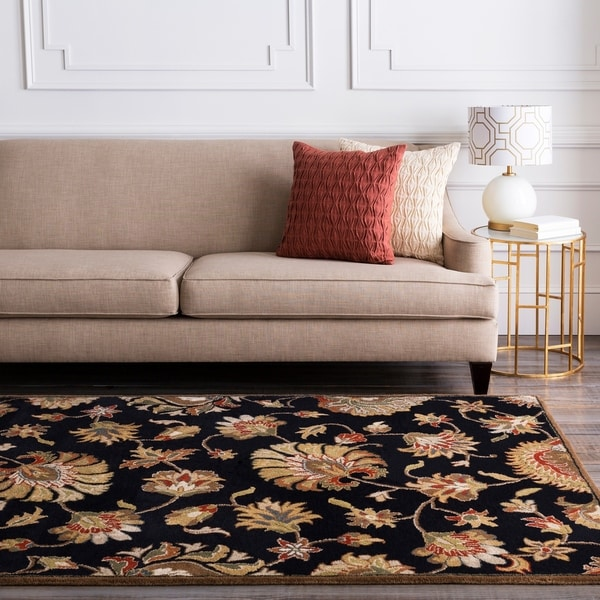 Hand-tufted Caper Black Wool Area Rug - 5' x 8'
