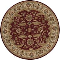 Hand-tufted Kaiser Red Wool Area Rug (9'9 Round)