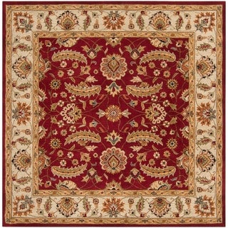 """Hand-tufted Kaiser Red Wool Area Rug - 9'9"""" Square"""