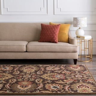 Hand-tufted Grand Chocolate Brown Floral Wool Area Rug - 4' Round/Surplus