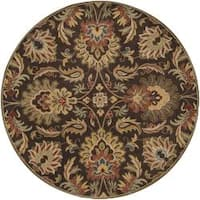 Hand-tufted Grand Chocolate Brown Floral Wool Area Rug (6' Round) - 6'