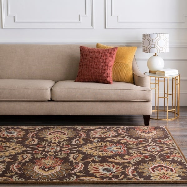 Hand-tufted Grand Chocolate Brown Floral Wool Area Rug - 7'6 x 9'6