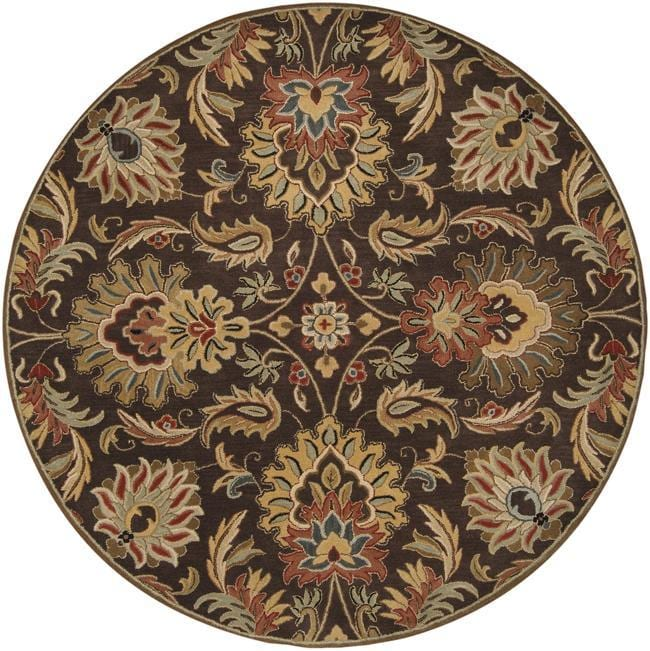 Hand-tufted Grand Chocolate Brown Floral Wool Rug (8' Round)