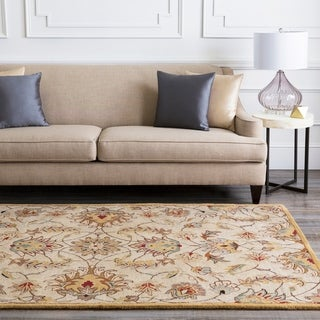 Hand-tufted Stage Gold Wool Area Rug - 8' Square/Surplus