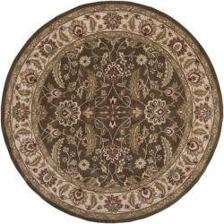Hand-tufted Brute Brown Wool Rug (4' Round)