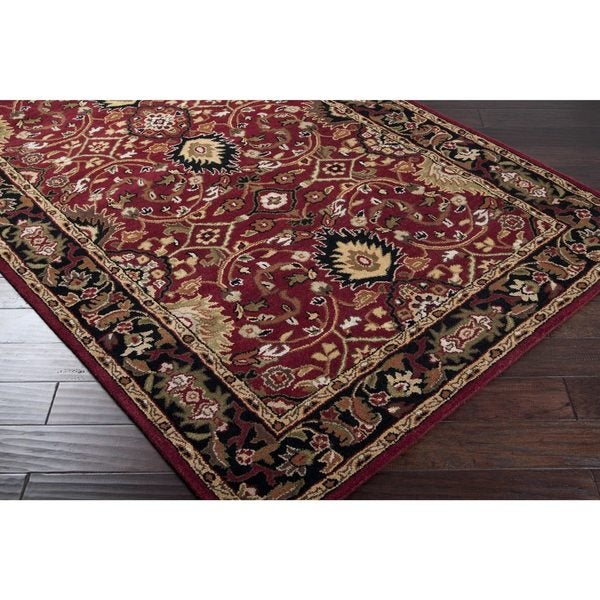 Hand-tufted Hellenic Burgundy Wool Area Rug (5' x 8')