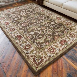 Hand-tufted Brute Brown Wool Area Rug - 4' x 6'