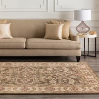 Hand-tufted Brute Brown Wool Area Rug - 4' Square