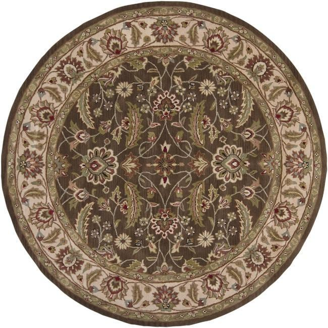 Hand-tufted Brute Brown Wool Rug (6' Round) - Thumbnail 0