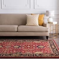 Hand-tufted Hellenic Red Wool Area Rug - 7'6 x 9'6