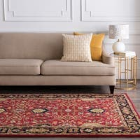 Hand-tufted Hellenic Red Wool Area Rug - 8' x 8'