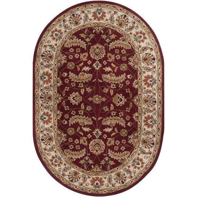 Hand Tufted Kaiser Red Wool Area Rug 8 X 10 Oval