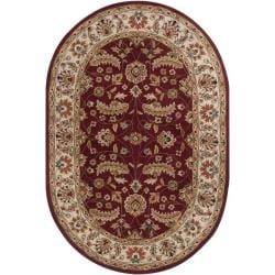 Hand-tufted Kaiser Red Wool Rug (8' x 10' Oval)