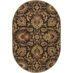Hand-tufted Grand Oval Chocolate Brown Floral Wool Rug (6' x 9')