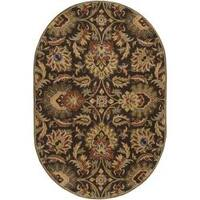 Hand-tufted Grand Oval Chocolate Brown Floral Wool Area Rug (6' x 9')