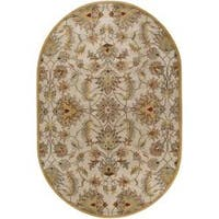 Hand-tufted Stage Gold Wool Area Rug (6' x 9' Oval)