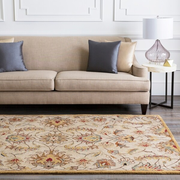 Hand-tufted Stage Gold Wool Area Rug - 8' x 10' Oval/Surplus