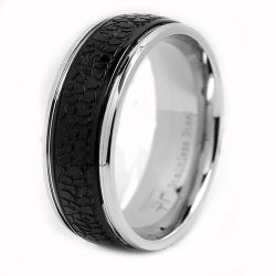 Oliveti Stainless Steel Black-plated Grooved Men's Ring