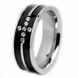 Oliveti Stainless Steel Men's Black-plated Cubic Zirconia Cross Ring