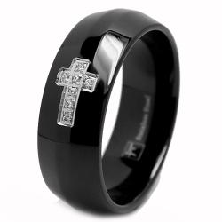 Oliveti Stainless Steel Black-plated Men's Cubic Zirconia Cross Ring
