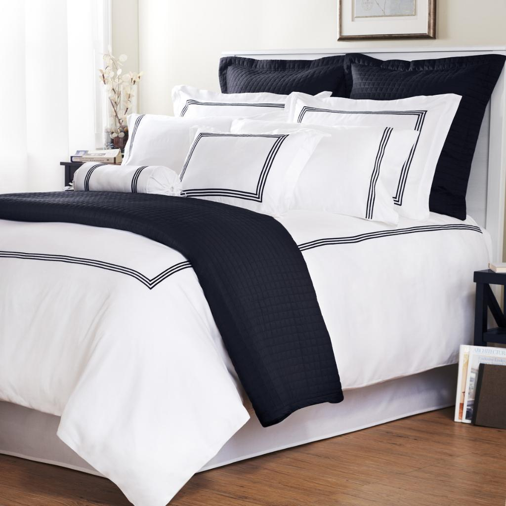 Navy Stripe Baratto Stitch Full Queen Size 3 Piece Duvet