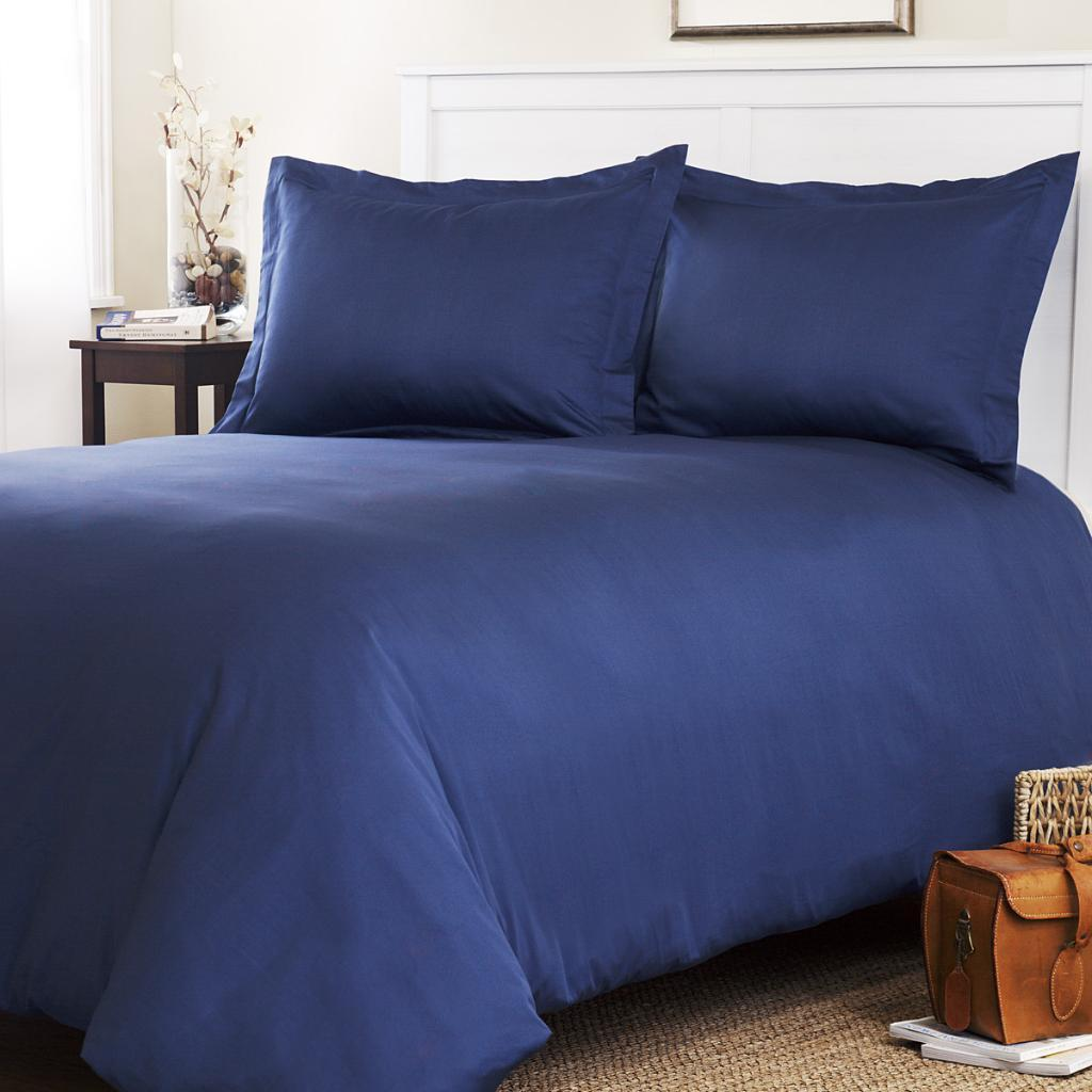 Roxbury Park Solid Navy King Size 3 Piece Duvet Cover Set