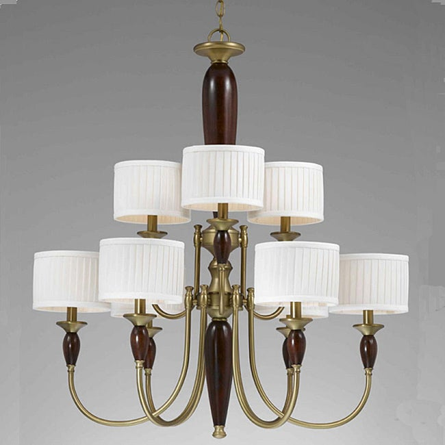 English Manor 9-light Burnished Brass Chandelier