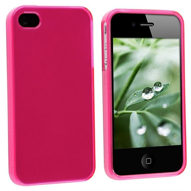 INSTEN Frost Hot Pink TPU Rubber Phone Case Cover for Apple iPhone 4