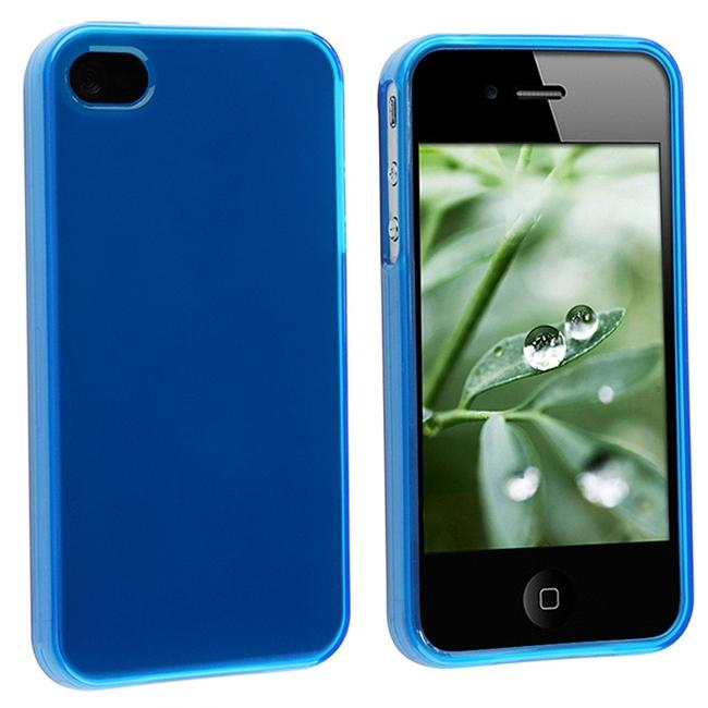 INSTEN Frost Dark Blue TPU Rubber Phone Case Cover for Apple iPhone 4