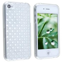 White Diamond TPU Rubber Case for Apple iPhone 4 - Thumbnail 1