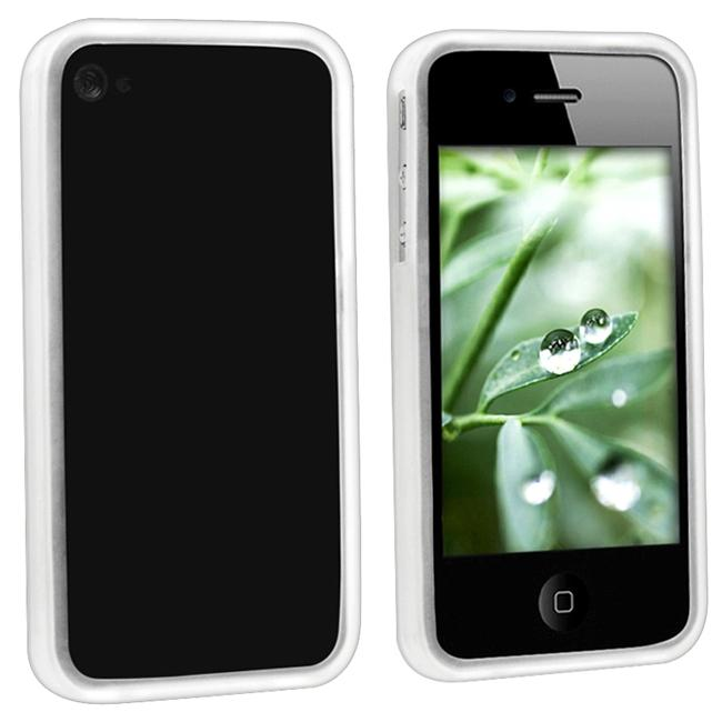 INSTEN Clear White Bumper TPU Rubber Phone Case Cover for Apple iPhone 4